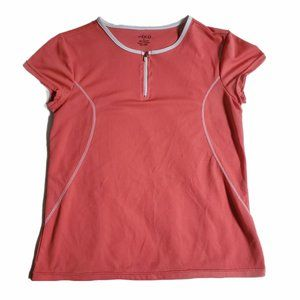 BCG Pink / White Zip Neck Workout Top Sz M